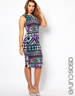 ASOS Curve | ASOS CURVE Bodycon Dress In Aztec Print at ASOS