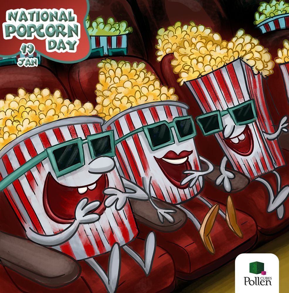 A special day to spend at a cinema - this time not more for the movie but the popcorn. Or pop some at home and catch a old flick. Either ways, have a crunchy, munchy day!!