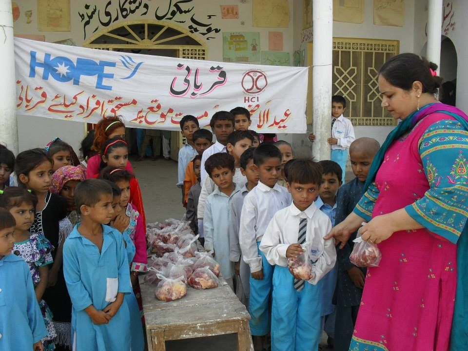 HOPE officials distributed Qurbani meat and donations to
