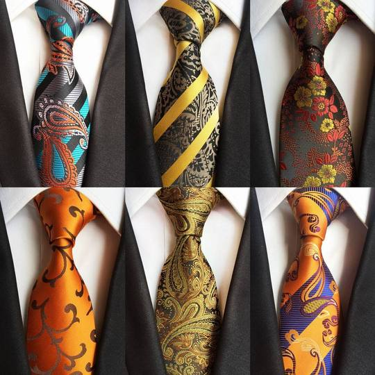 Mens Necktie Ties Silk Red Navy Blue Gold Black Paisley Striped Business Classic