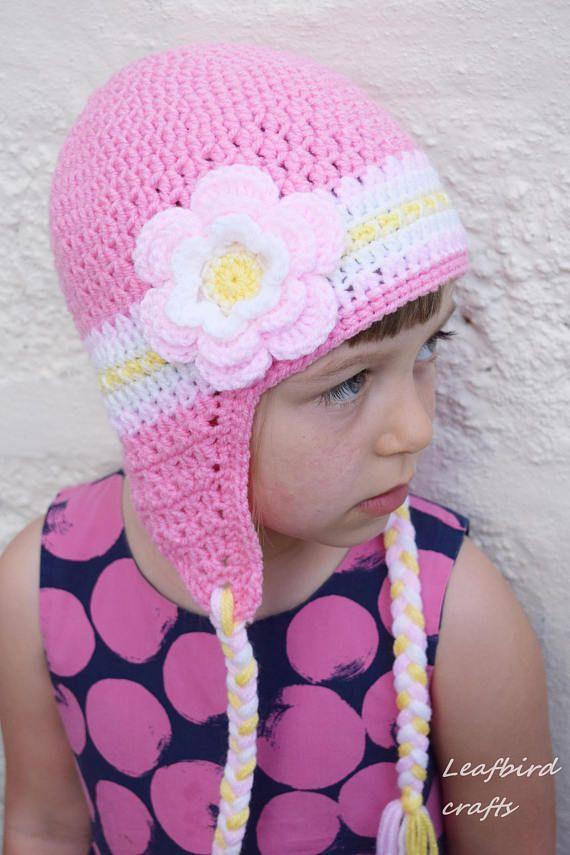 Del sombrero del ganchillo hecha a mano para niñas flores | rita ...