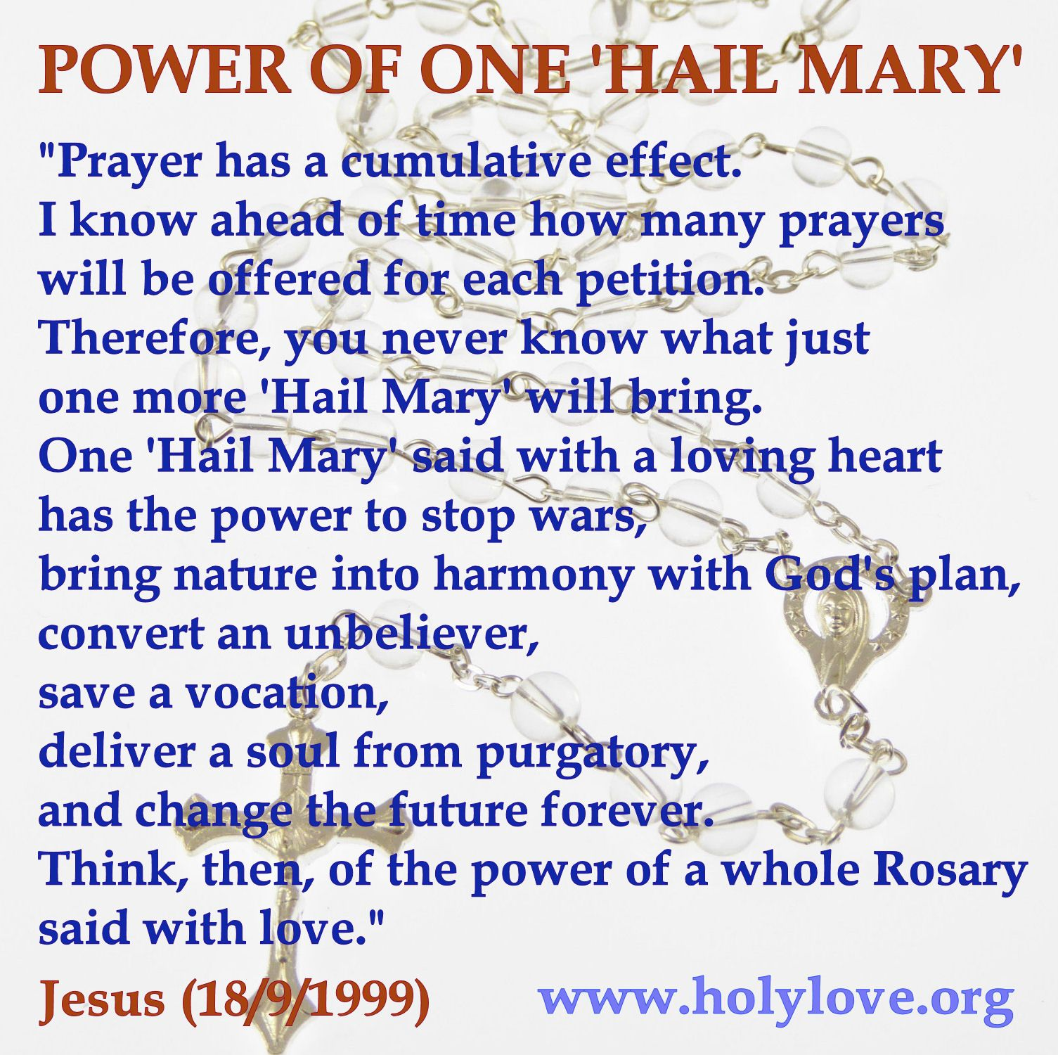 The Power Of Just One Hail Mary Rosary Prayer