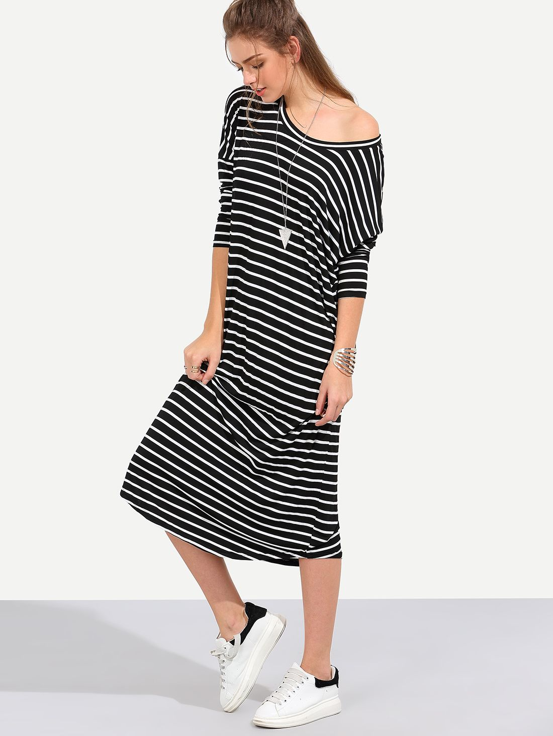 Shop Black White Stripe Long Sleeve Shift Midi Dress online. SheIn offers  Black White Stripe Long Sleeve Shift Midi Dress   more to fit your  fashionable ... 1d2d15e34388