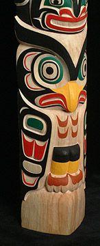 Alcheringa Gallery - Tribal Miniatures 2002: Model Totem Pole: Moon, Killerwhale, Owl by Tony Hunt Jr.