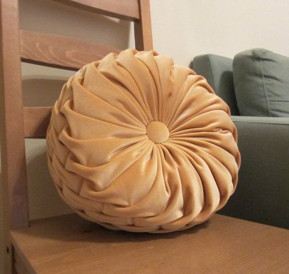 Soft Peach Velvet Ruched Round Throw Pillow Living Room