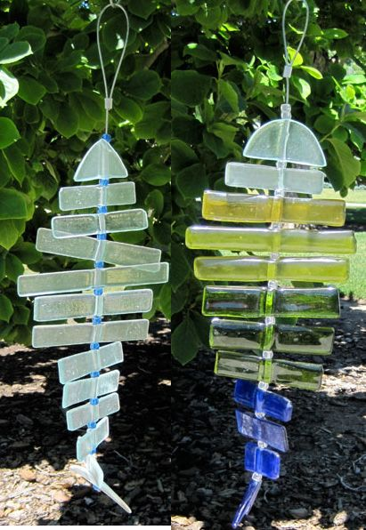 Recycled Glass Wind Chime - Fish