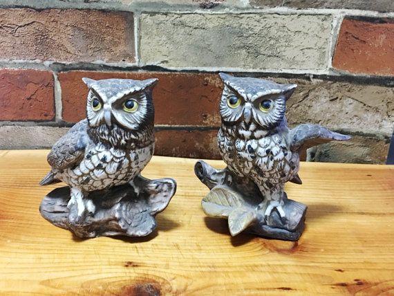 Owl figurines 2 vintage homeco home interior