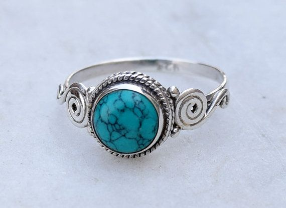 Turquoise Rings Solid Sterling Silver Turquoise by silverplace99