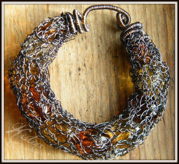 Crochet wire bracelet handmade ooak by KASTina on Etsy, $40.00