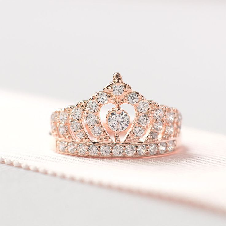 Adrianna Cute Crystal Princess Crown Promise Fashion Ring In Silver Fashion Rings Wedding Jewelry Gold Jewelry Sets