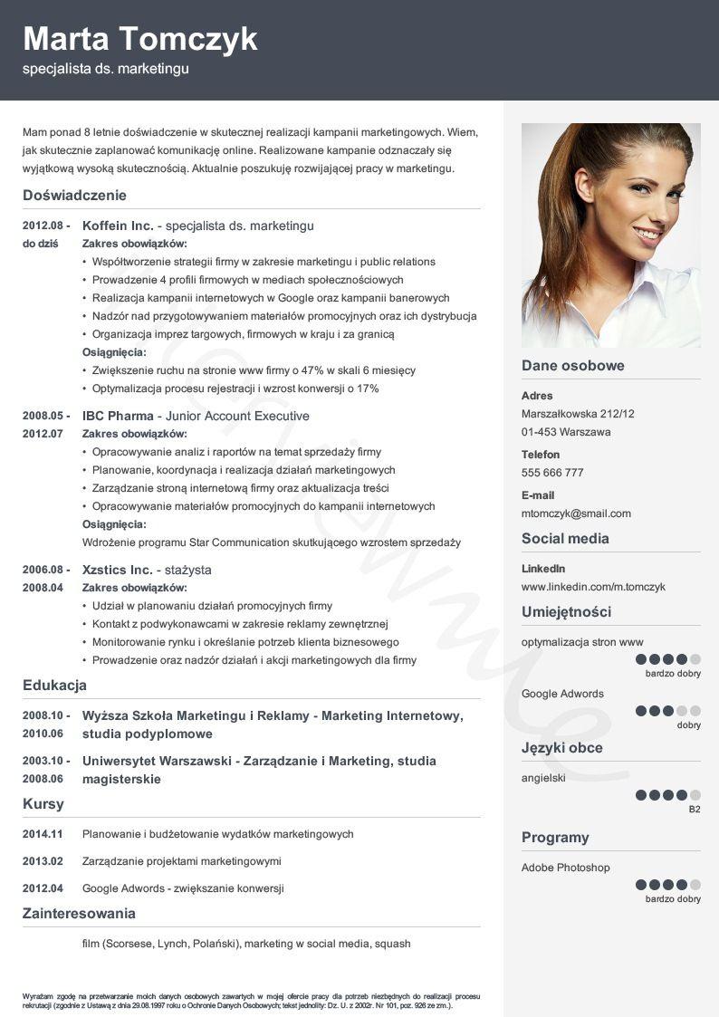Kreator CV i listu InterviewMe Wzory, List, Marketingu