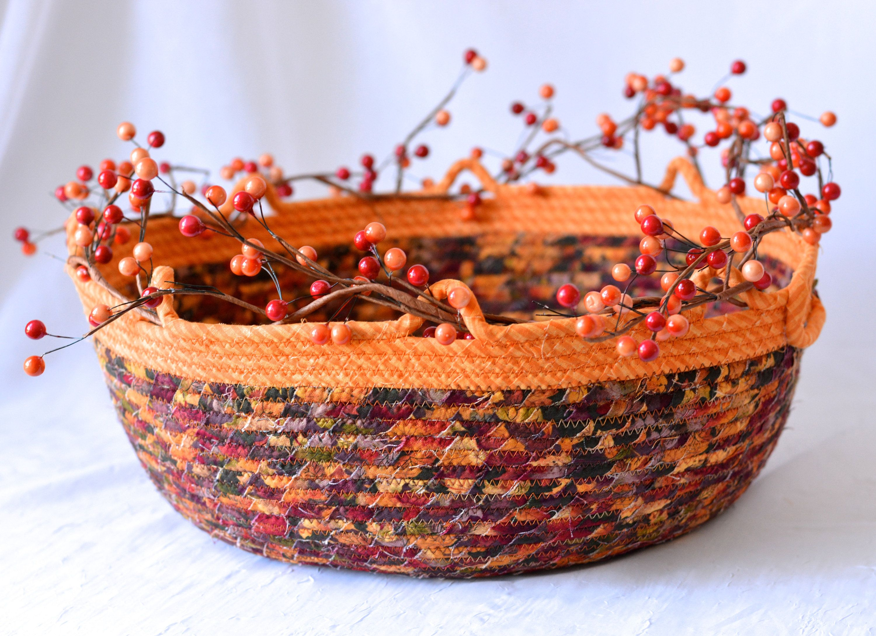 Thanksgiving Decor Basket, Fall Rope Coiled Basket, Country Gift Basket, Napkin Holder, Fall Table Centerpiece, Fruit Bowl