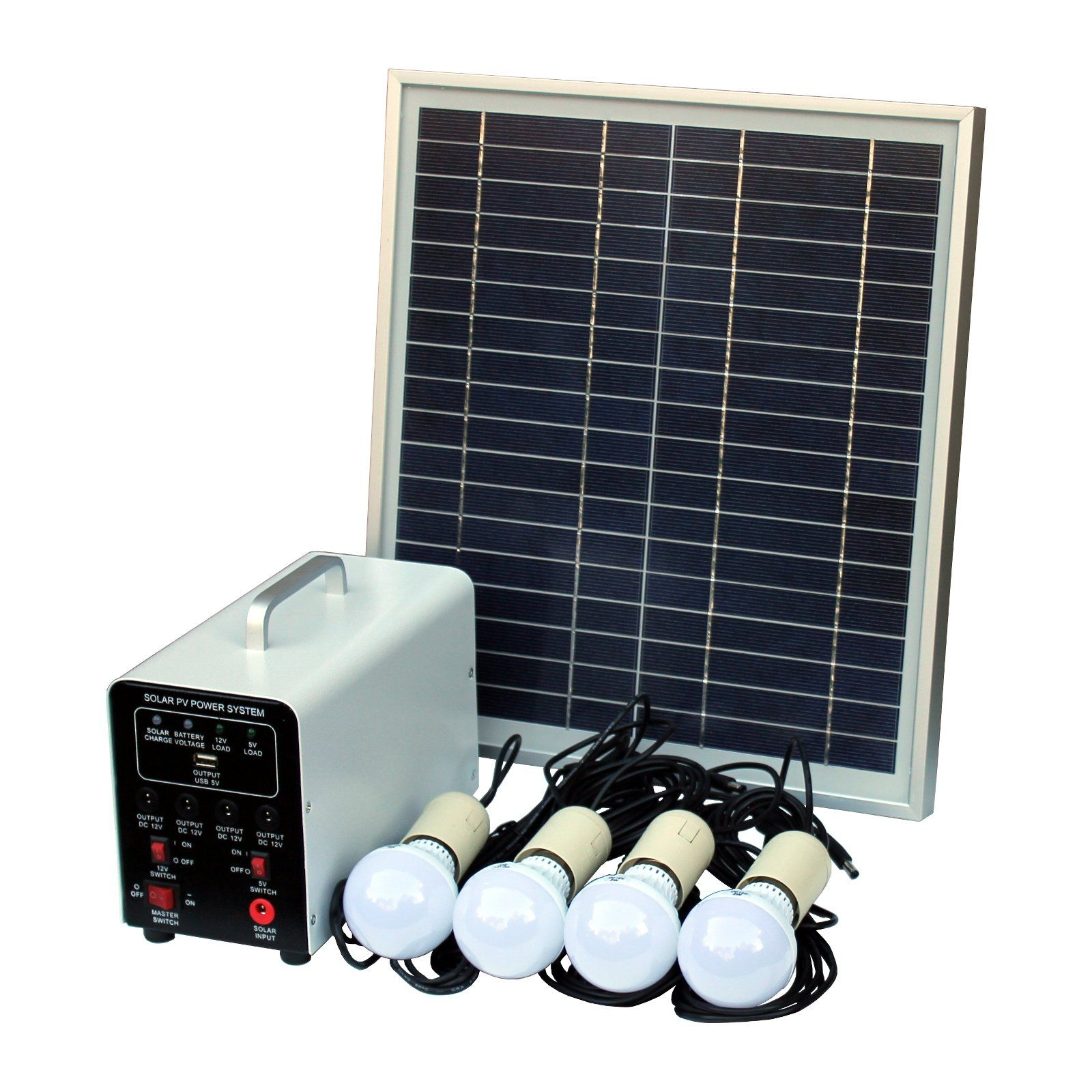 15w Off Grid Solar Lighting System With 4 Led Lights Solar Panel Battery And Cables Complete Solar Lighti Solar Lighting System Solar Panels Off Grid Solar