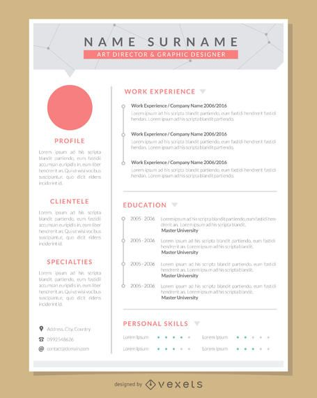 1 Page Resume Design Template Made For Professional Graphic