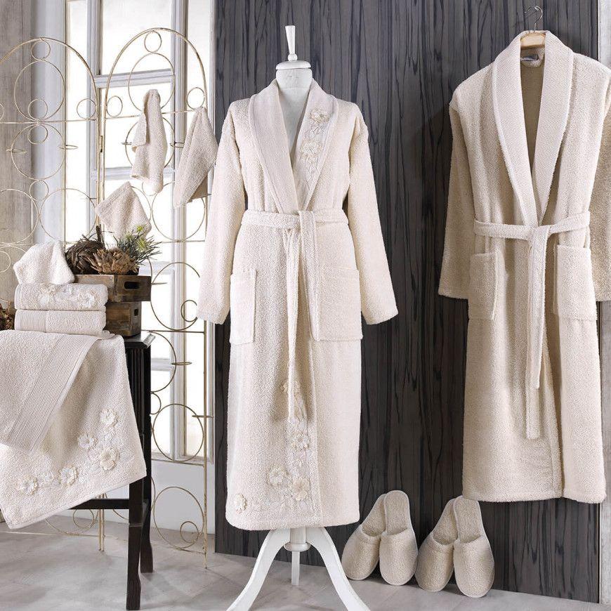 طقم أرواب استحمام كارينا مطرز بيج و بيج عدد القطع 14 Fashion Cotton Robe