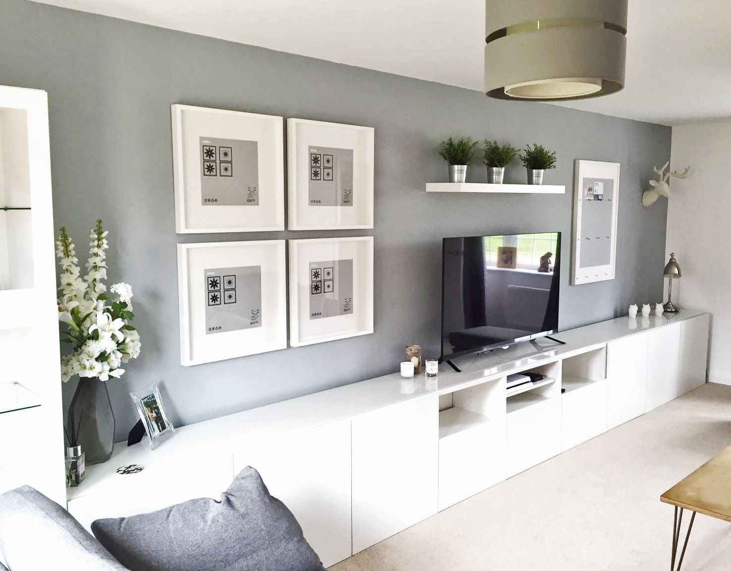 Ikea BEST, Living Room, Tv unit, Picture Frames Ribba. White, Grey