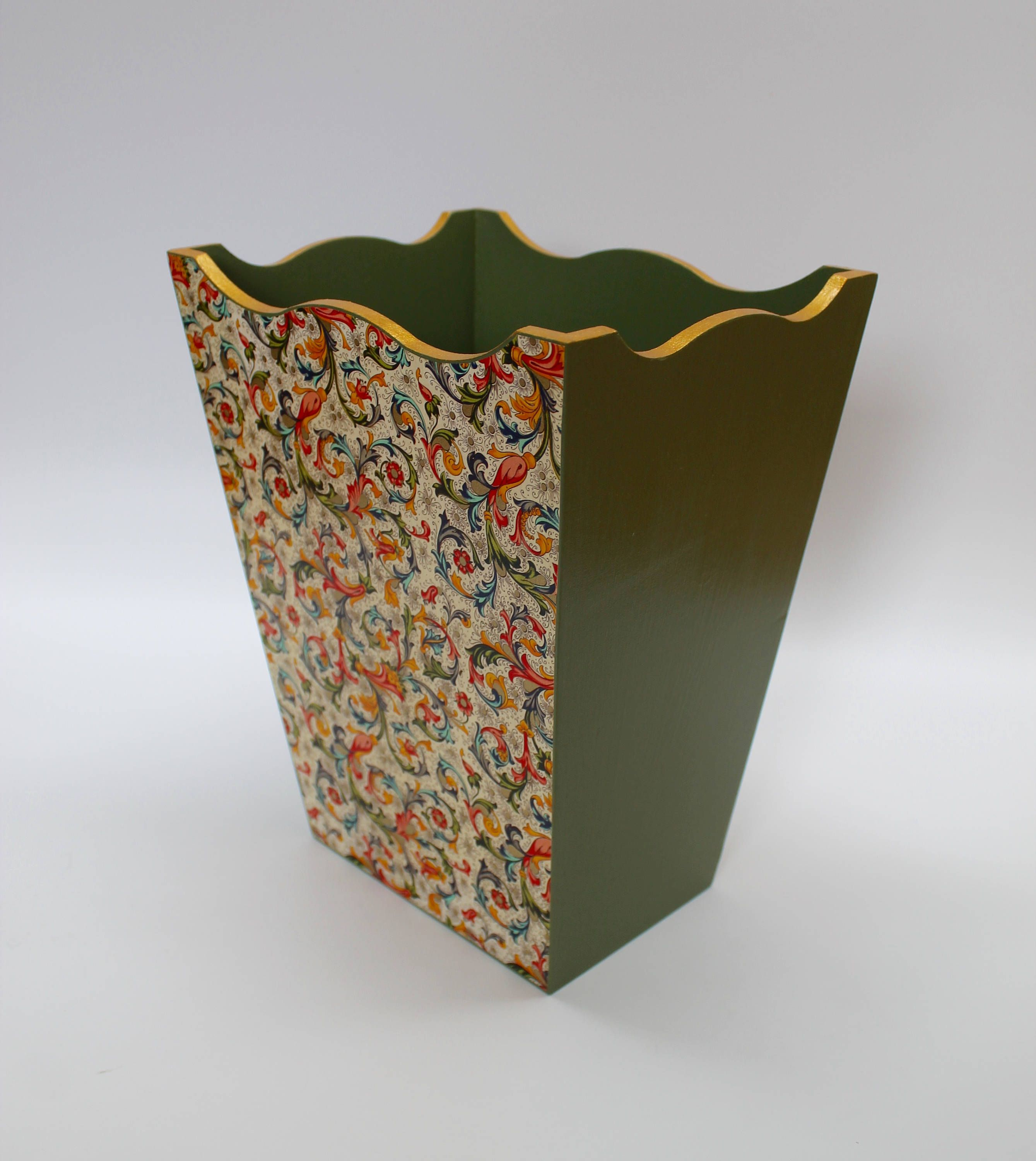 Wood Waste Paper Basket Green Bin With Gold Rim And