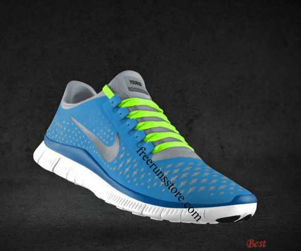 finest selection 6b39d 47b89 Cheapest Womens Nike Free 3.0 V4 Prism Blue Reflective Silver Sail  Fluorescent Green Lace Shoes