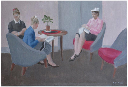 André-Albert Tondu(França, 1903-1980) A leitura, ost,  50 x 73 cm