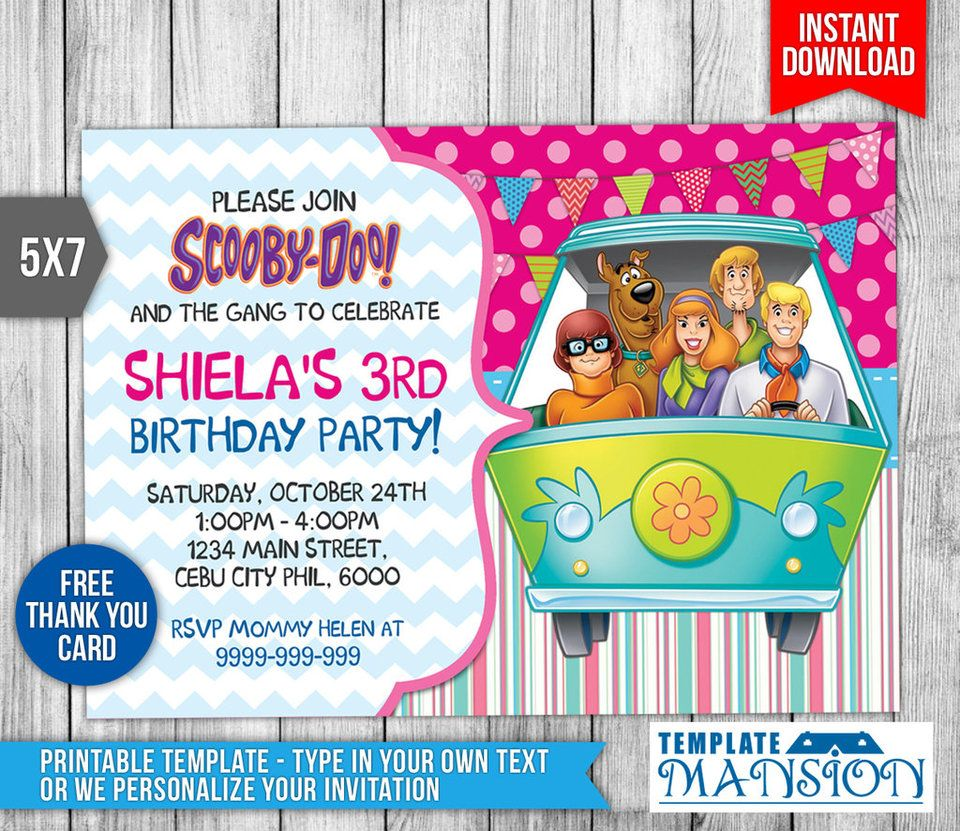 Scooby Doo Birthday Invitation Invite PSD by templatemansion