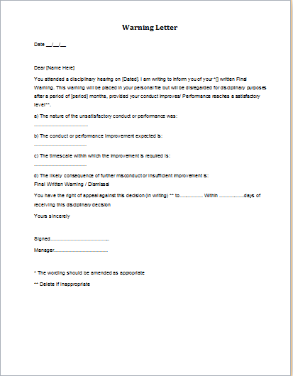 Disciplinary Action Final Warning Letter Download At Http