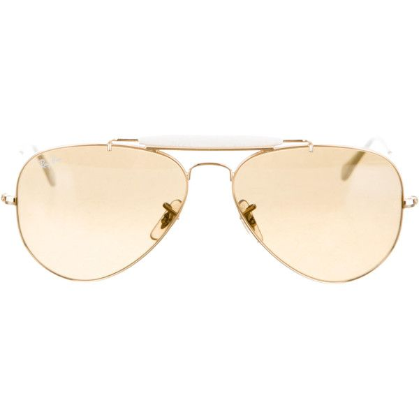 Ray-Ban Gold-Tone Aviator Sunglasses ($95) ❤ liked on Polyvore featuring accessories, eyewear, sunglasses, gold, ray ban sunnies, ray ban sunglasses, gold glasses, gradient lens sunglasses and gold sunglasses