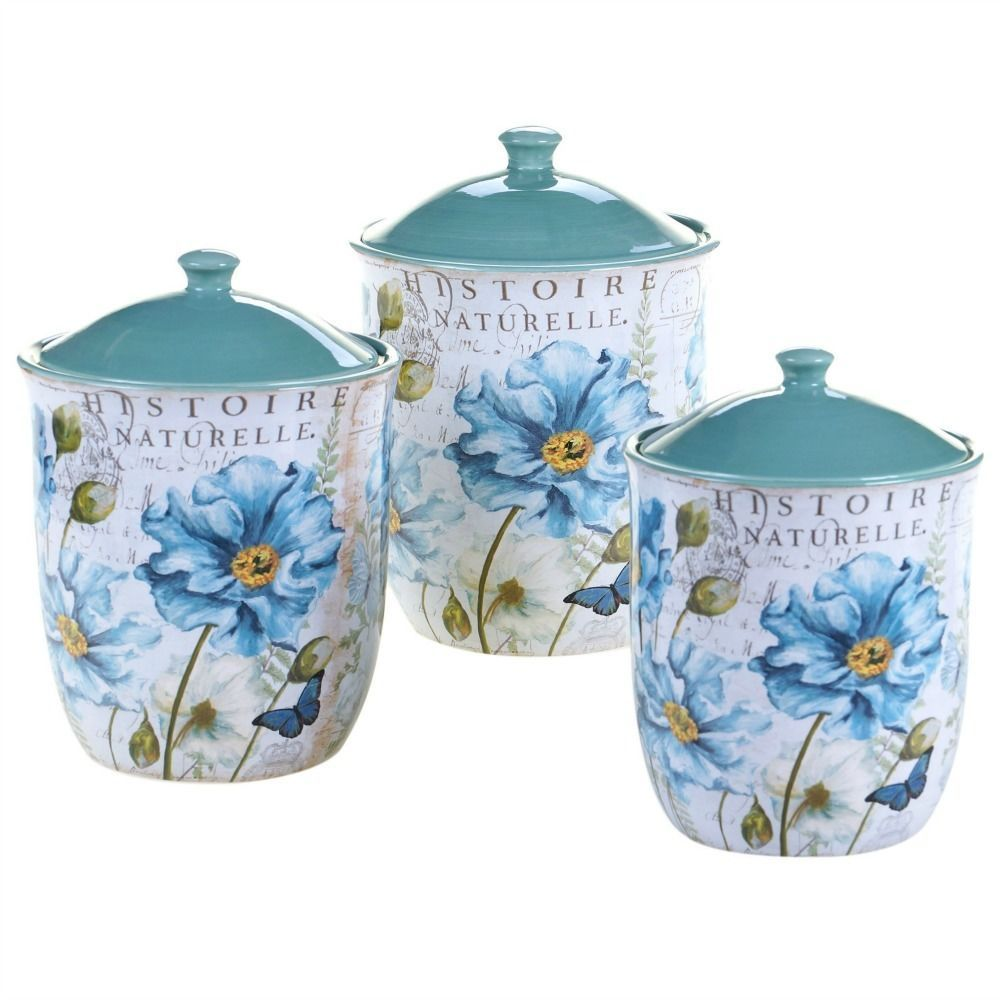 Canister Set Ceramic French Garden 3 PC Kitchen Canisters Gift Set ...