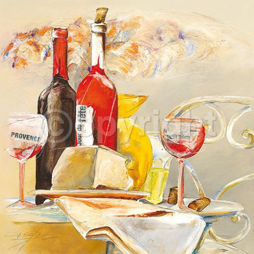 Elizabeth-Espin-La-fete-Kueche-Wein-Fertig-Bild-50x50-Wandbild | All ...