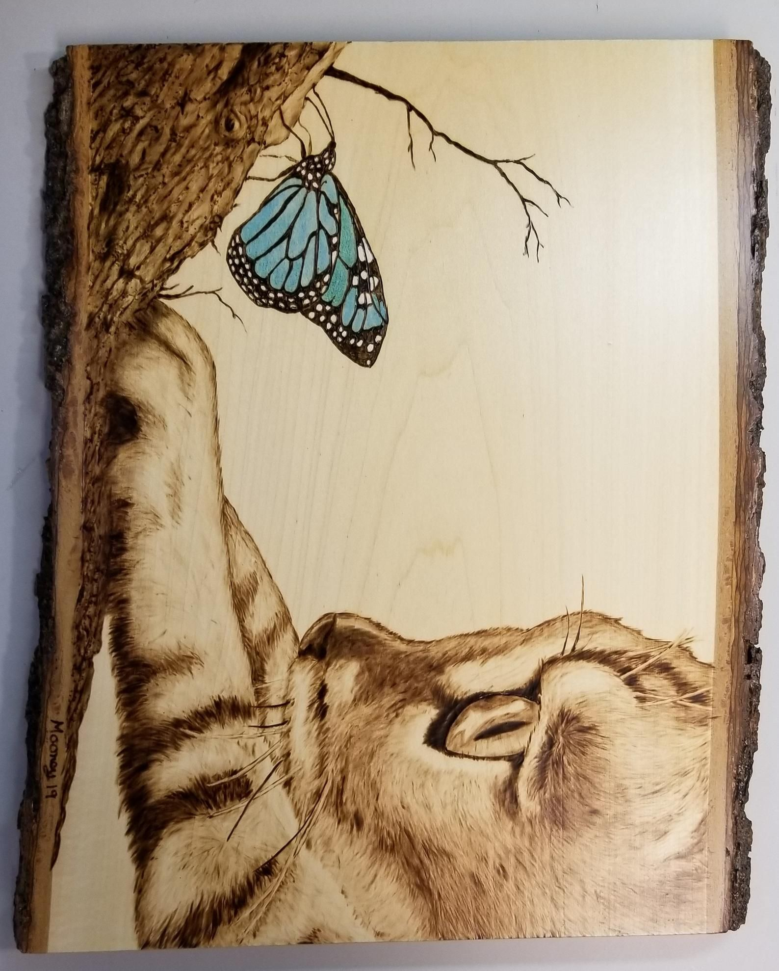 Cat Blue Butterfly Wood Burning