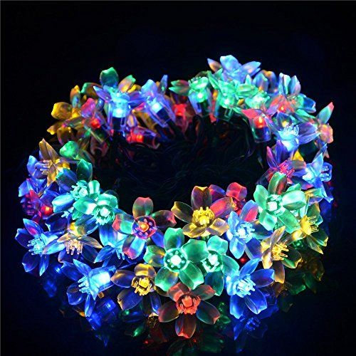 Peach Flower Shaped Solar String Lights, ECHTPower- TM- 50 LED 23ft - solar christmas decorations