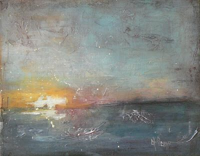 "Contemporary Artists of Florida: Abstract Seascape, ""Sunset"" by Carol Schiff, 11x14 Acrylic"