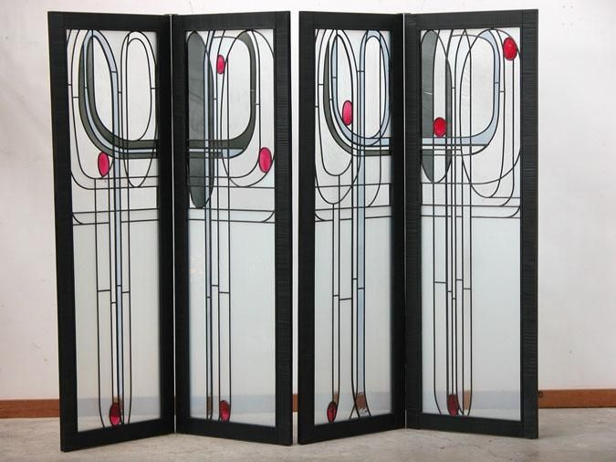 """Mackintosh Screen    CustomMade by Arthur Stern 6'-3"""" high x 3'-2"""" wide for each pair.  Together they are about 6'-6"""" in width depending on how far open they are hinged."""