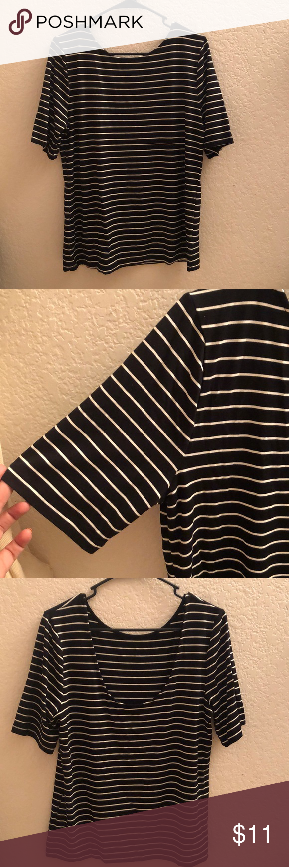 T Shirt Black Shirt With White Stripes And Sleeves Goes Down To About Mid Upper Arm In The Back Of Shirt Has A Scope And Is Form Fi Black Shirt Shirts T