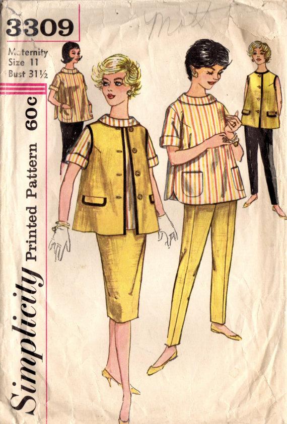 840888c068b 1960s Simplicity 3309 Vintage Sewing Pattern Junior   Misses Maternity  Skirt