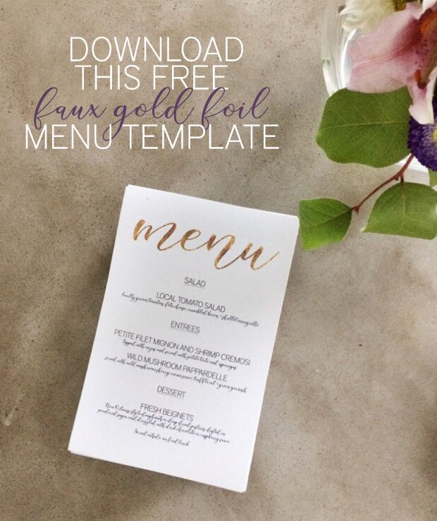 Download this free faux gold foil wedding menu template - which - ms word menu template
