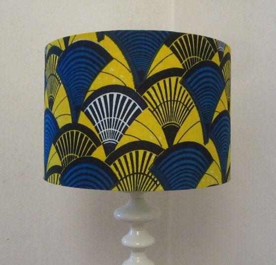 Bright Yellow And Blue Batik Print Drum By Pepperedmothlighting Drum Lampshade Ceiling Light Shades Batik Prints