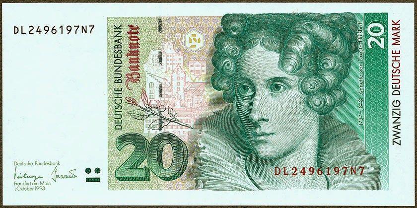 20 Deutsche Mark banknote 1993, von Droste
