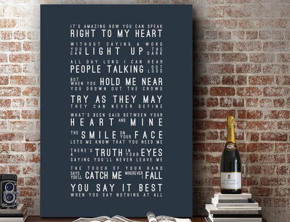 Ronan Keating When You Say Nothing At All Lyrics Music Wall Art Song Home Decor Anniversary Gift Wedding Typography Lyric Print 2 Get 1