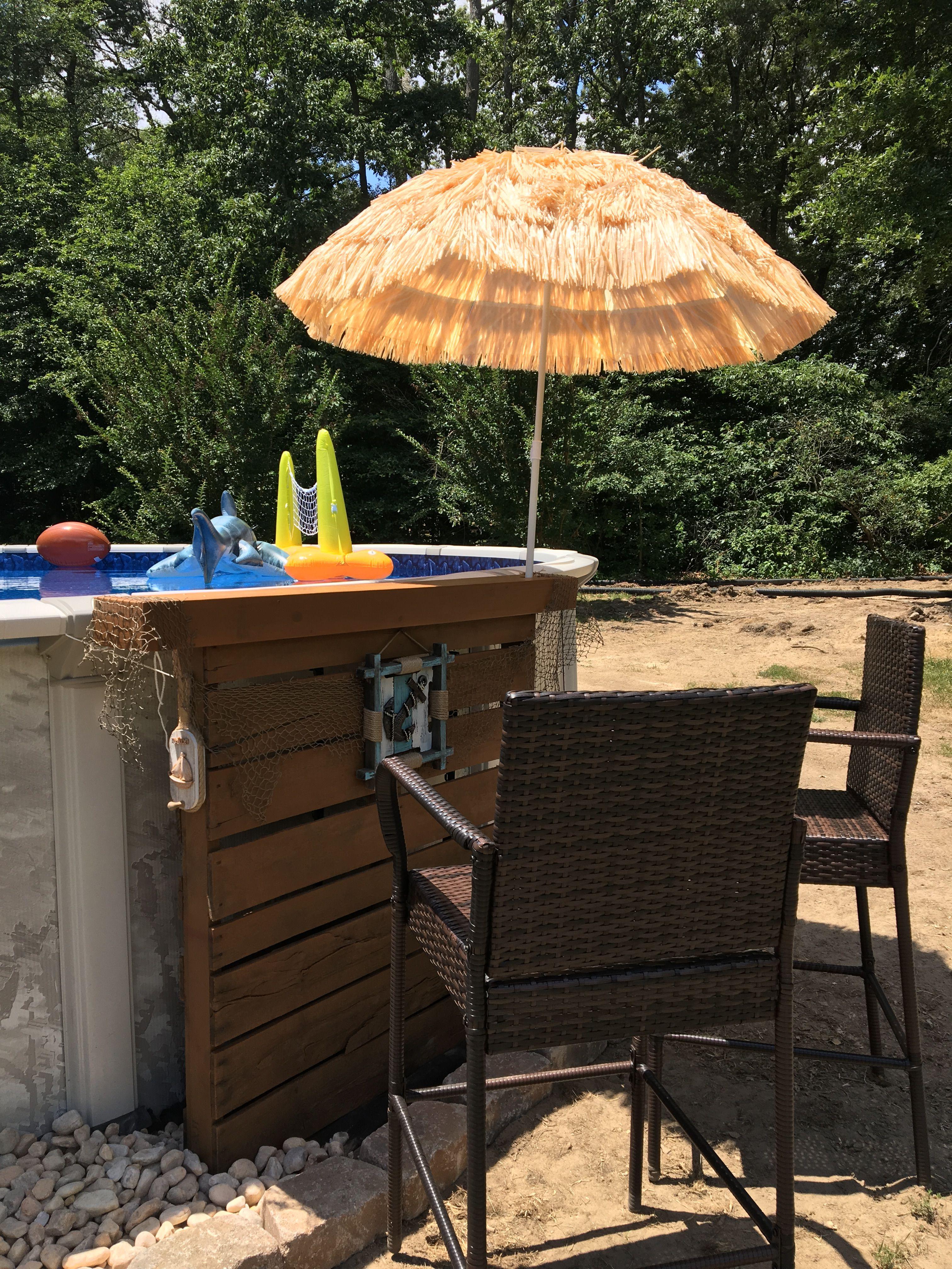 My pallet tiki bar diy pool decor in 2019 pool - Above ground pool bar ...