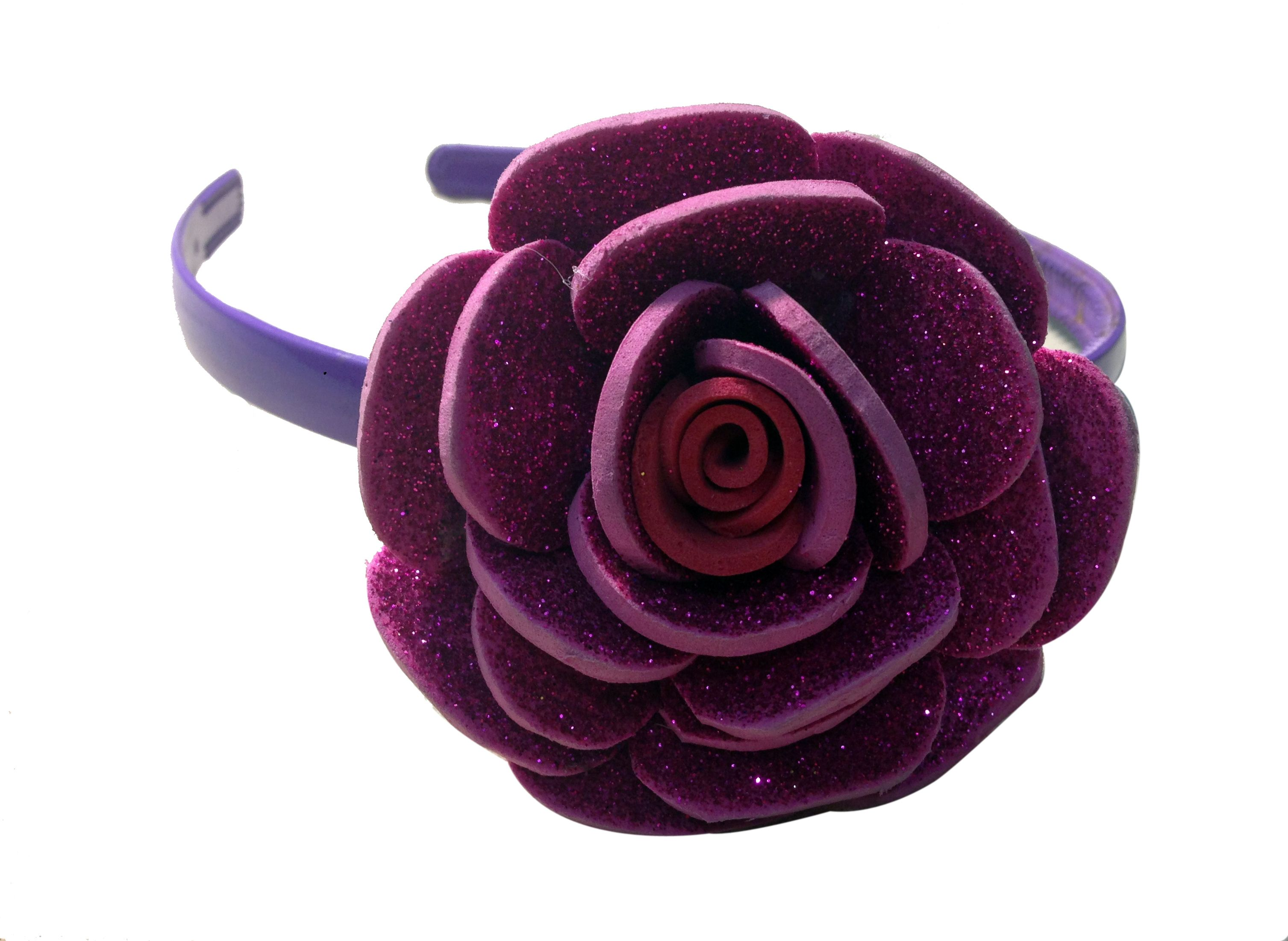 Pink Color Flower Hair Band One Flower Made Of Imported Rubber