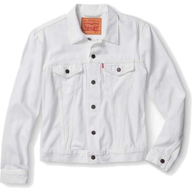 Justin Timberlake wearing Levi s White Denim Trucker Jacket ... 876ef84059