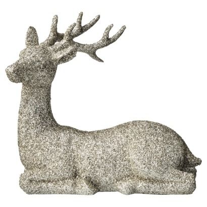 Sitting Reindeer from Target - maybe find cheap animals at dollar/thrift store & glitter/paint