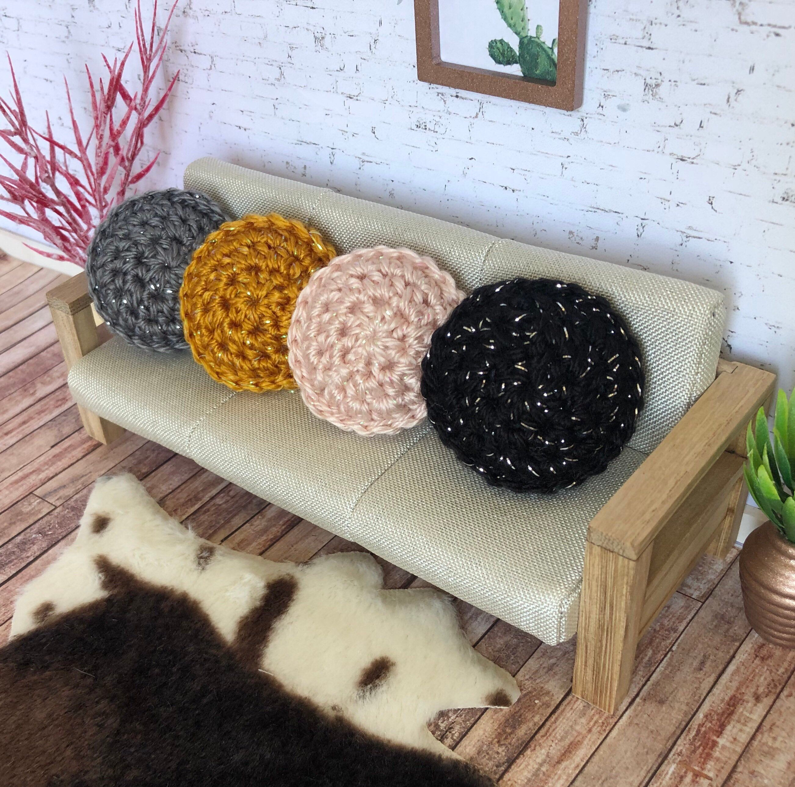 Miniature Round Cushion 1:12 Scale - Sparkle Yarn - Black Grey Pink Mustard - Round Dollhouse Cushions - Round Pillow - Crochet Cushion