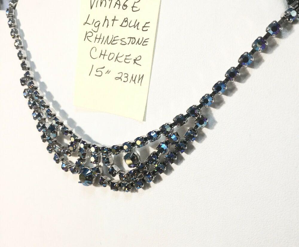 Vintage Light Blue Rhinestone Necklace Choker 15 23mm