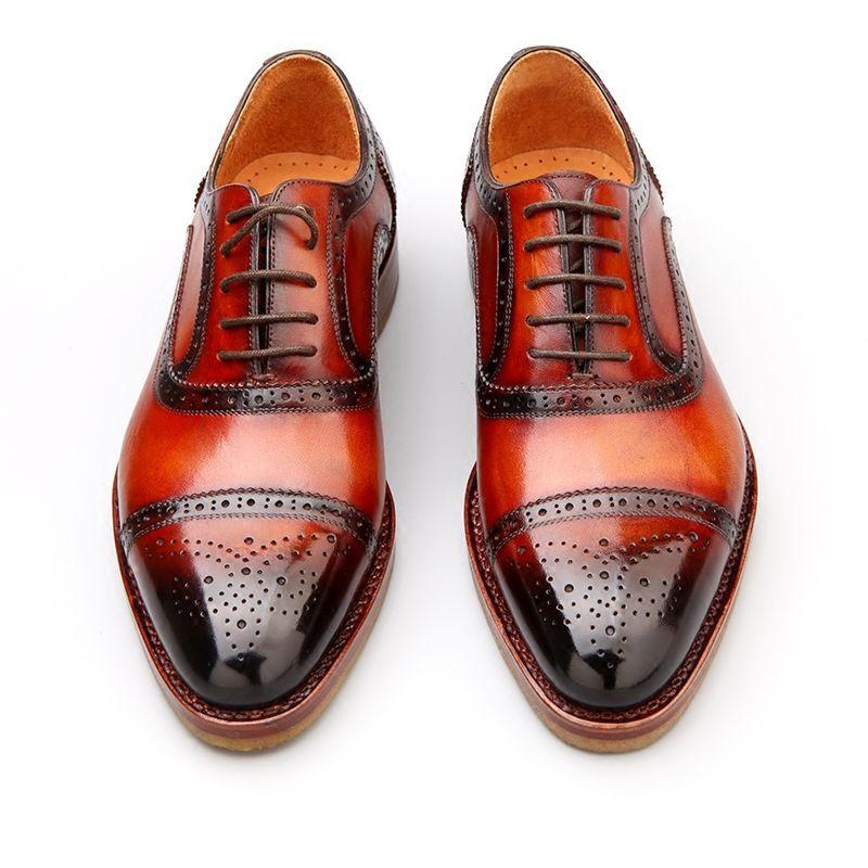 1bdf52da40 Barato Moda sapatos para homens de alta qualidade Goodyear homens  artesanais de couro de boi homens sapatos rendas sapatos marrom  cl aacute ssico