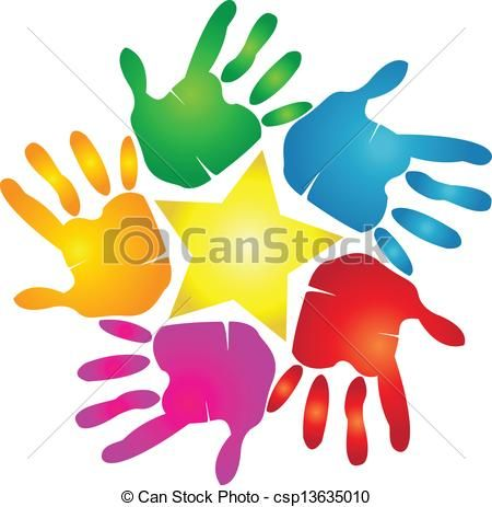 Vector Clip Art Of Hands Print With Star Logo Hands Print In Vivid Colors Csp13635010 Search Clipart Illustration Dra Star Logo Hand Logo Picture Logo