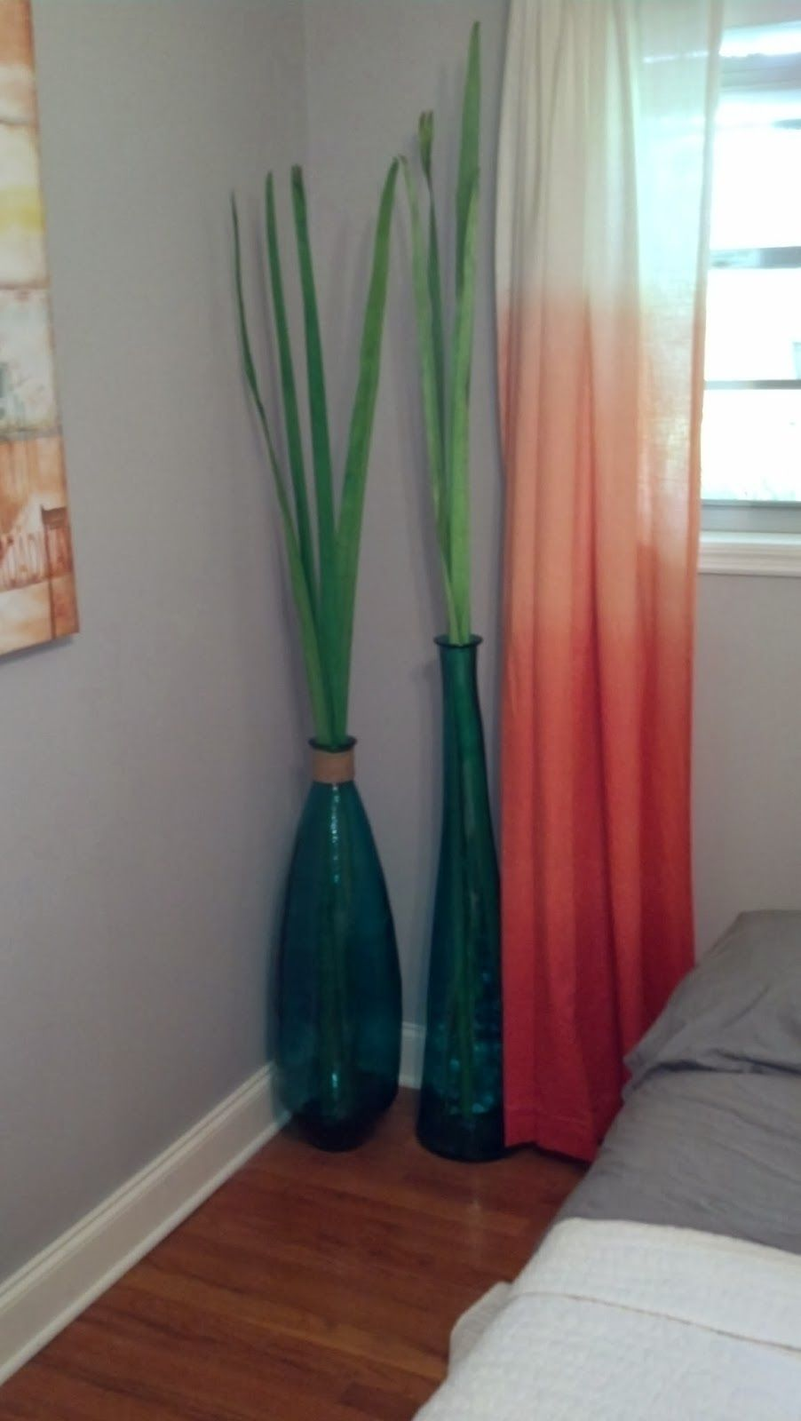 Regal Sheer Orange Curtains For Cool Windows Treatments Added Corner Decors As Well Grey Wall