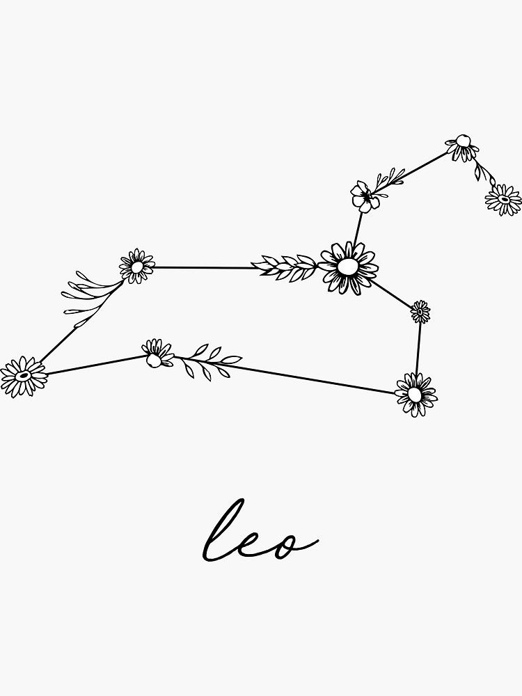 Photo of Pegatina 'Constelación de Leo Zodiac Wildflower' de aterkaderk