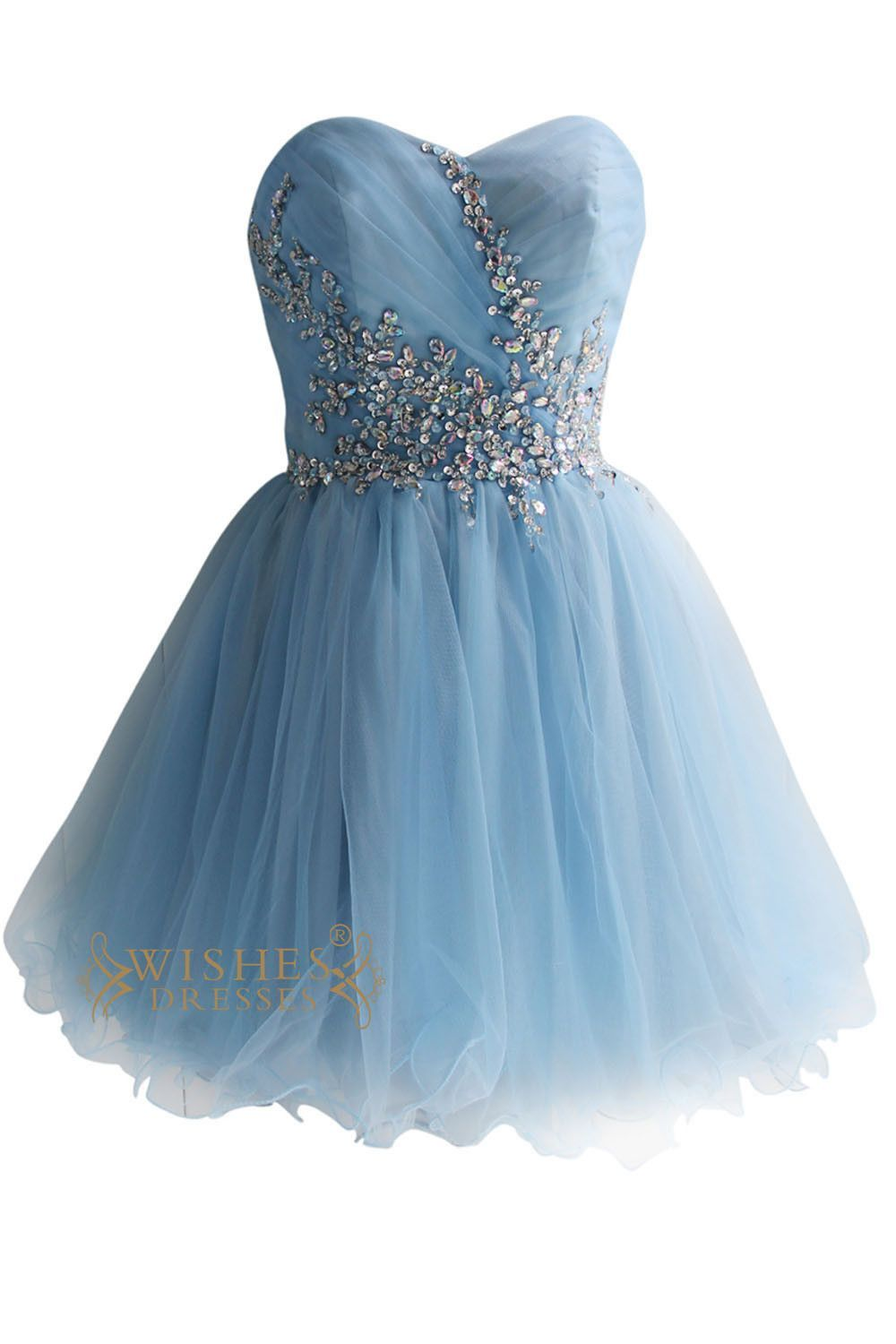 Sky Blue Tulle & Organza Short Prom Dresses AM124 | Short sequin ...