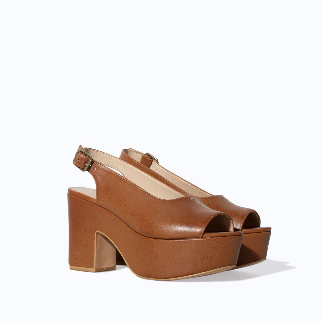 a2cb5ba8bac2c9 Image 4 of RETRO WEDGE SANDAL from Zara Tan Leather